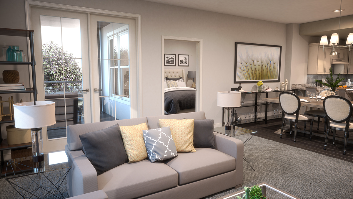 3D architectural rendering of the living room with the bedroom and dining area visible in the background. Rendering by Trinity Animation.