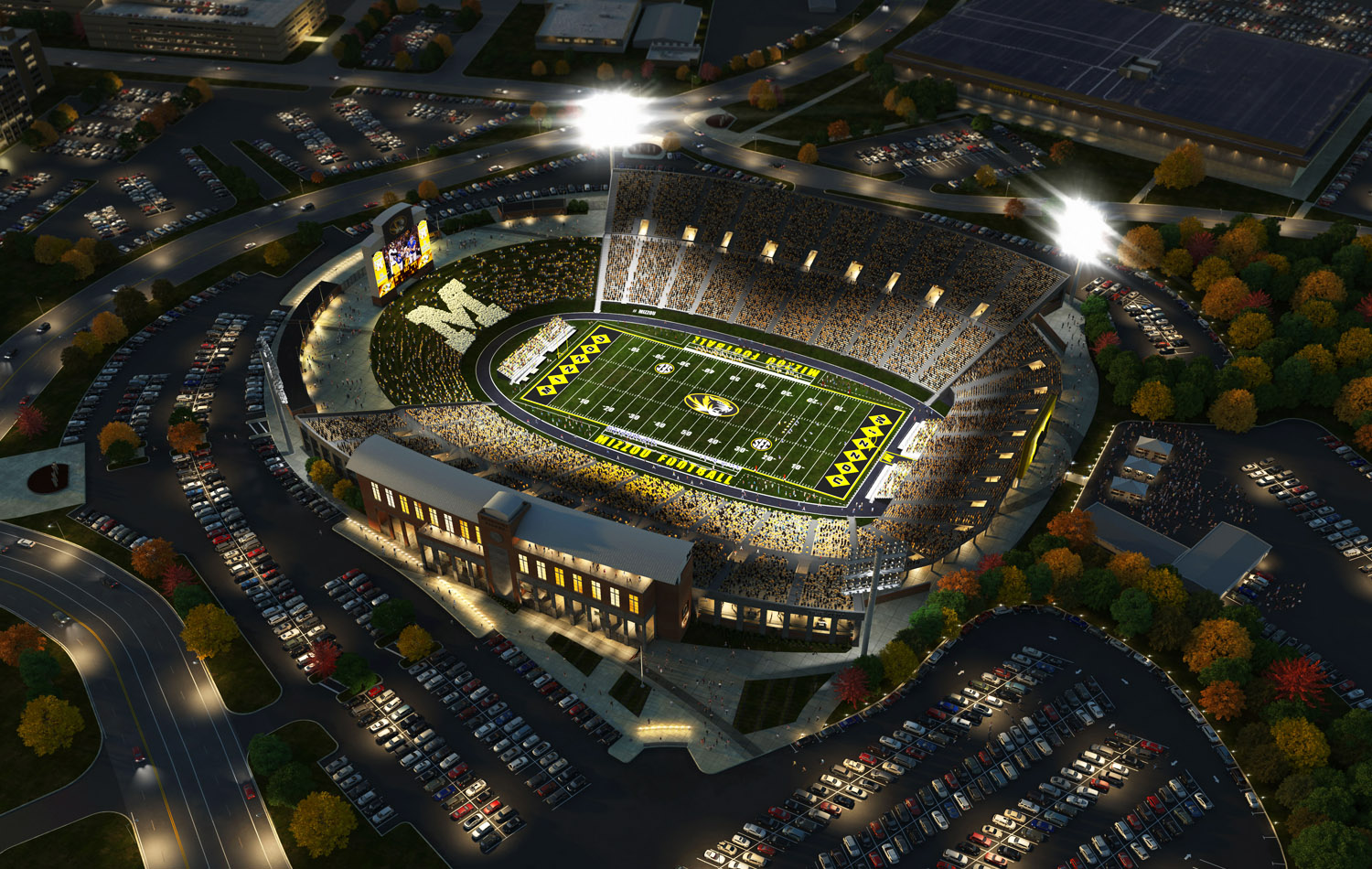 One of several aerial 3D stadium renderings for the Mizzou project.