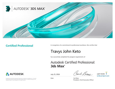 Travys Keto is one of Trinity Animation's Autodesk Certified Professional Animators