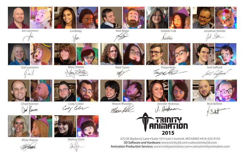 Back cover of the Trinity Animation 2015 Christmas Card with a photo alongside a rendered illustration of each person as an elf.