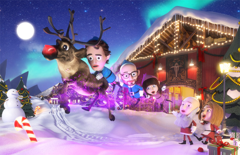 Rendered illustration of a Christmas scene with 3 elves carried aloft by a wayward reindeer.