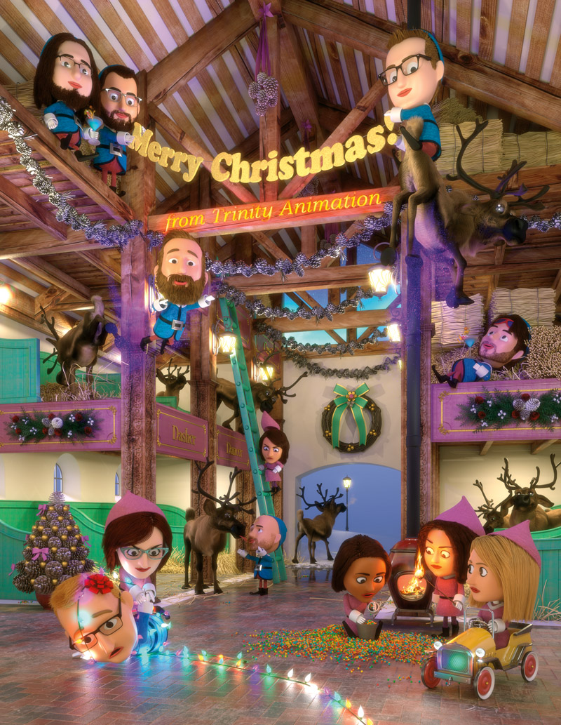 A 3D rendered illustration of a Christmas card scene of the interior of a reindeer barn with elves in various shenanigans.