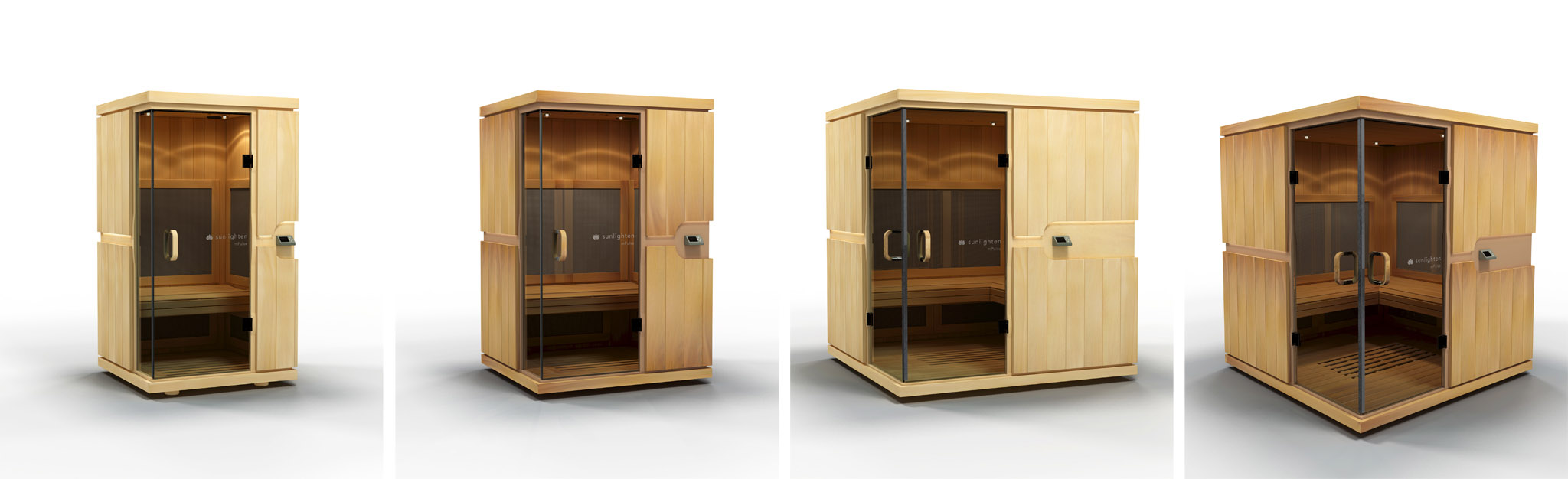 "Product visualization white room ""sweep"" style beauty shots of the mPulse line of saunas."