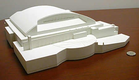 A front view of the arena physical model created via Trinity Animation's 3D printing service.