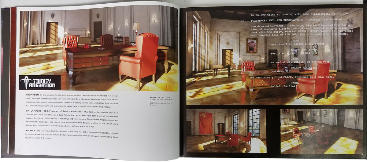 Section of the Art of Archer book detailing how Trinity Animation helps with Archer background art.