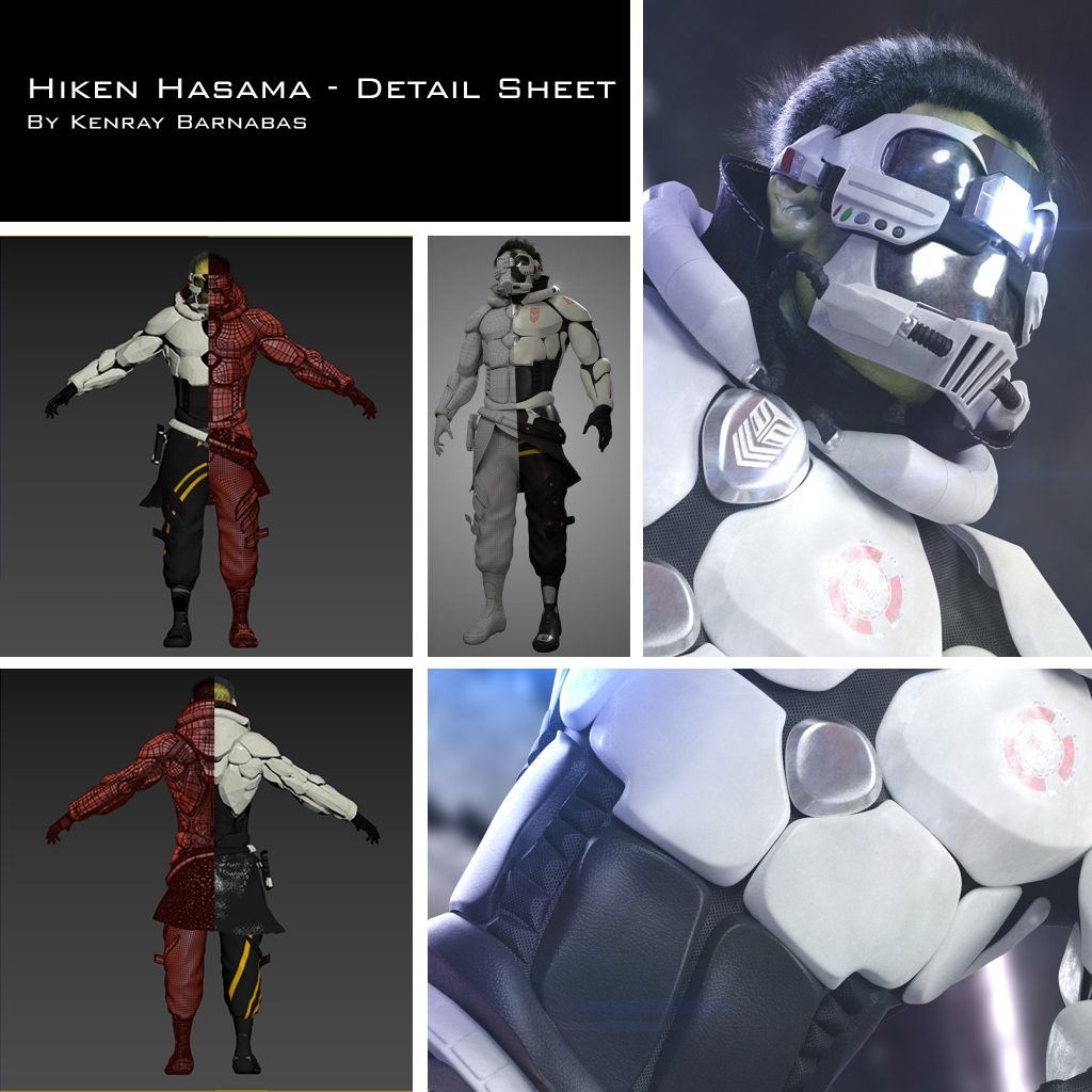 Detail sheet and T pose of Hiken Hasama character created by Kenray Barnabas.