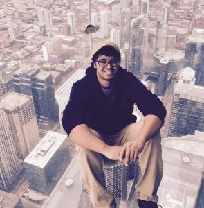 Photo of animator Kenray Barnabas at the Chicago Skydeck.