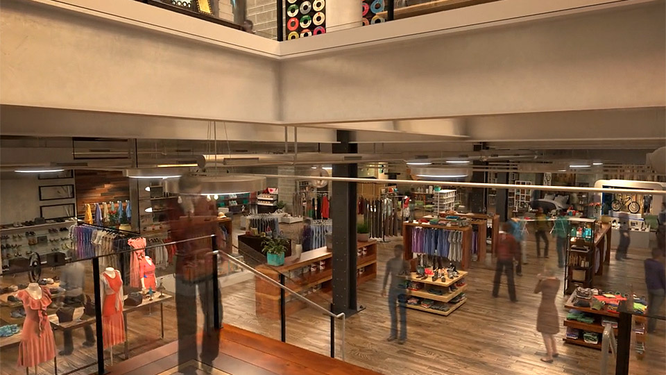Traveling to lower level of Times Square retail store in New York architectural animation.