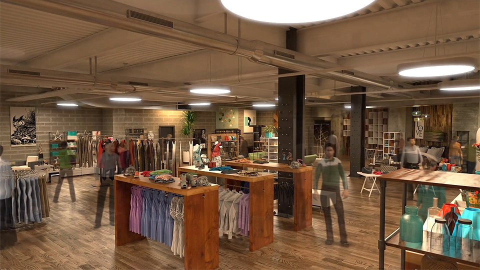 Detailed interior of New York architectural animation showing racks of apparel.