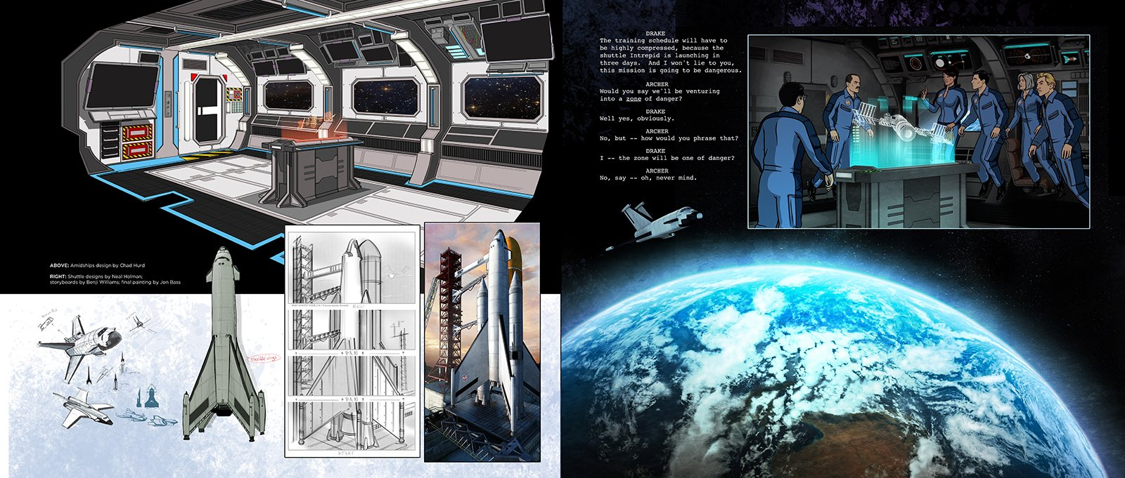 Archer background art development - a page from the book.