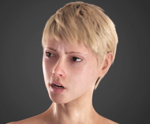 A still image from the facial animation communicating an intense facial expression with high-quality rendering and hyper-realistic facial features.