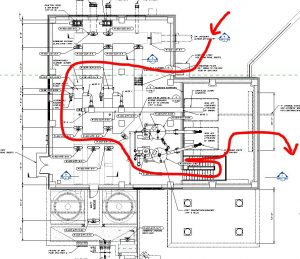 This is a diagram displaying the inside of the headworks building from an overhead view