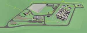 For this sales animation that Trinity 3D created they were given illustrations of the wastewater site from aerial views. Arrows are displayed throughout the illustration to show where the camera path will travel.
