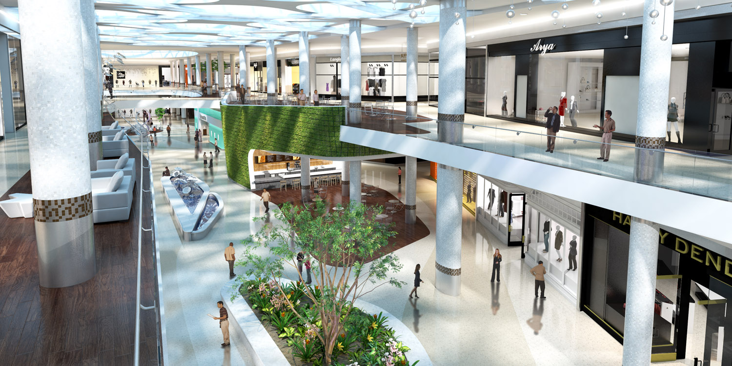 Realistic real estate rendering of interior retail space.