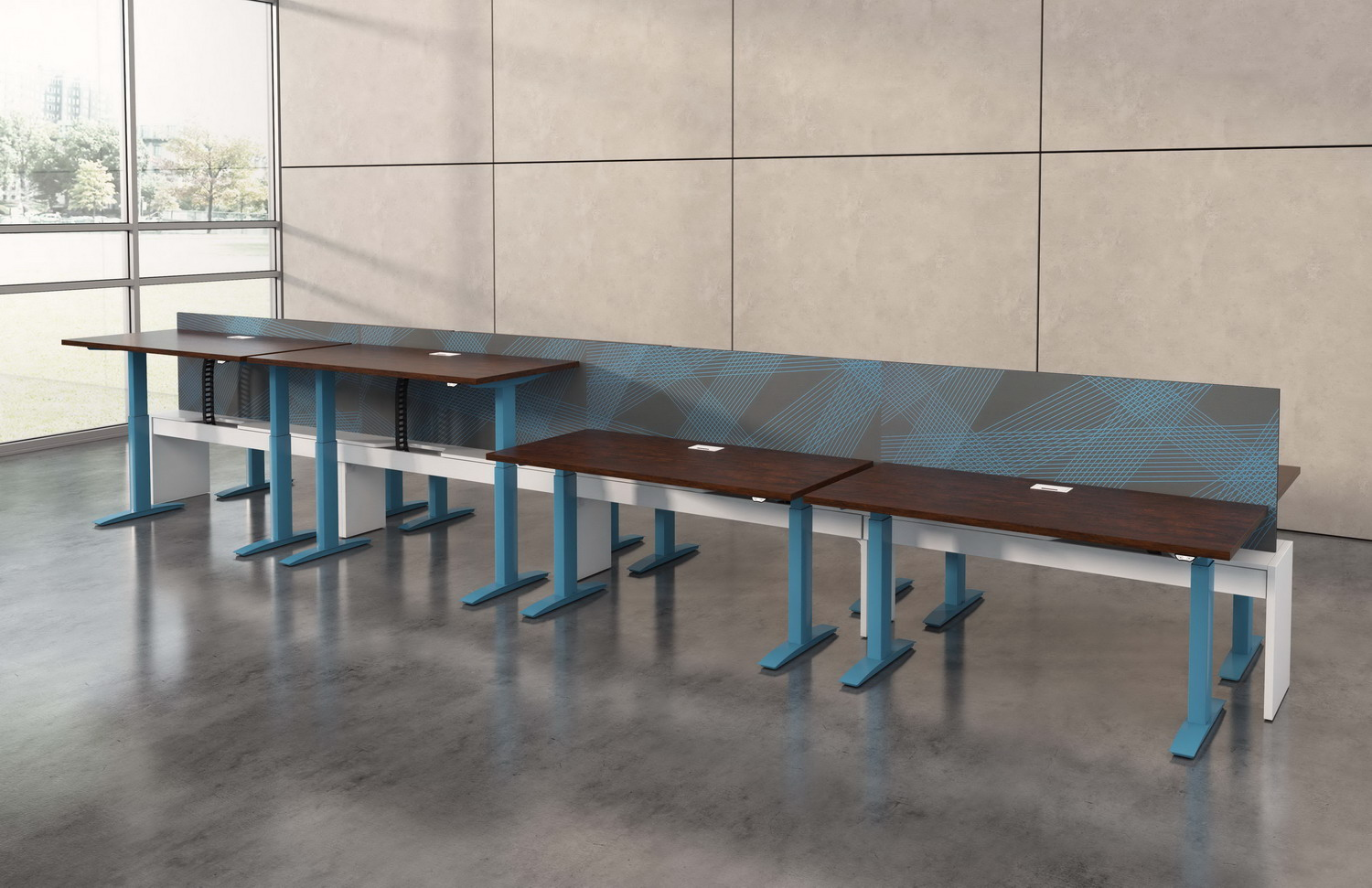 Contract furniture rendering of 4 height adjustable desks with fixed graphic dividers.