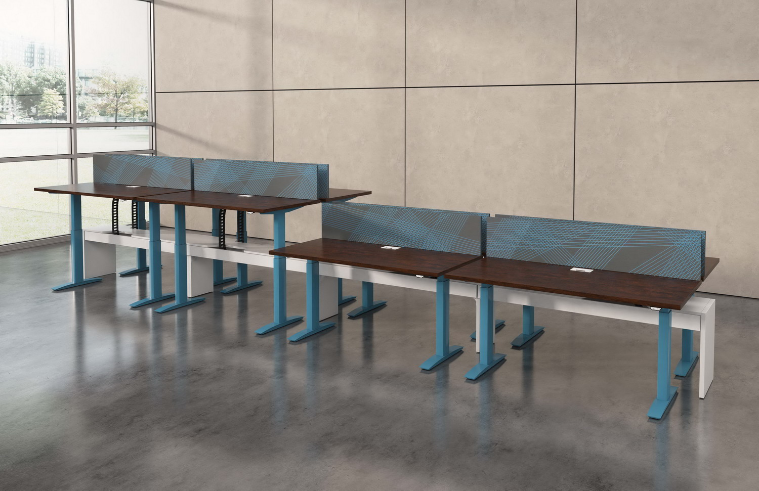 Contract furniture rendering of 4 height adjustable desks with graphic dividers attached to each desk.