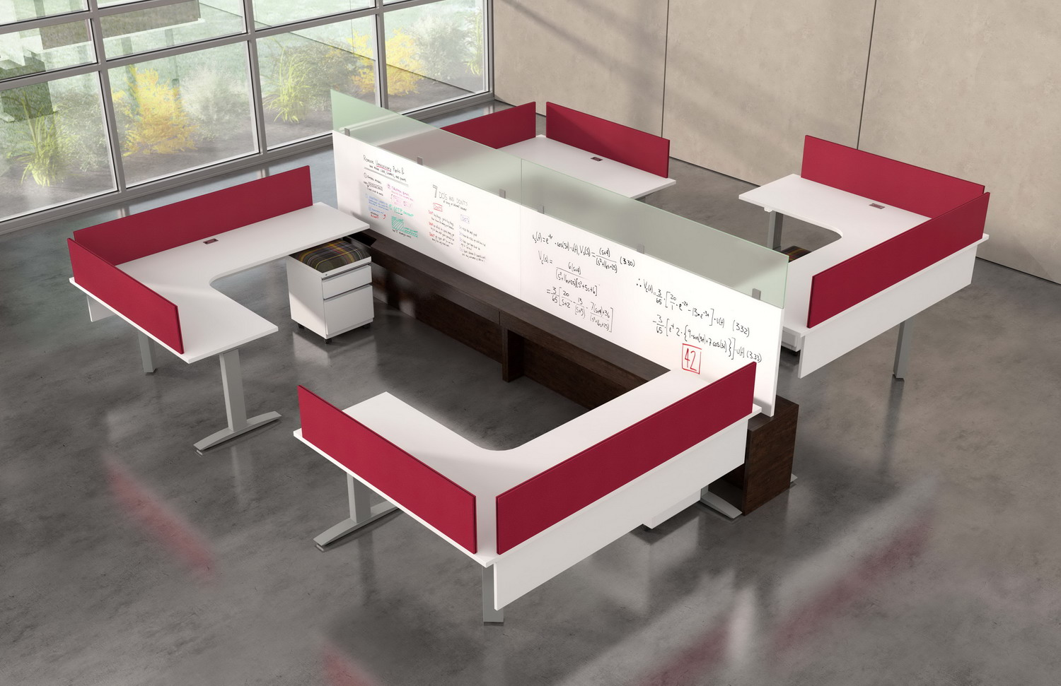 Contract Furniture Rendering of a group of 4 workspaces with a dry erase marker divider.