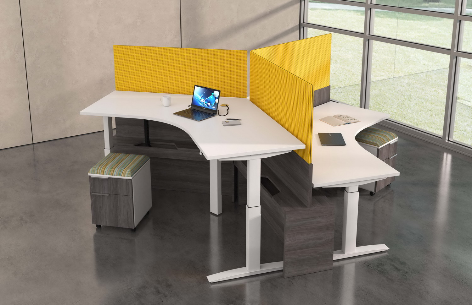 Contract furniture rendering from above of the height adjustable desk with yellow dividers.