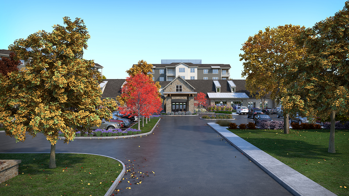 3D architectural rendering of the main entry for the campus, visualized with fall trees. Rendering by Trinity Animation.