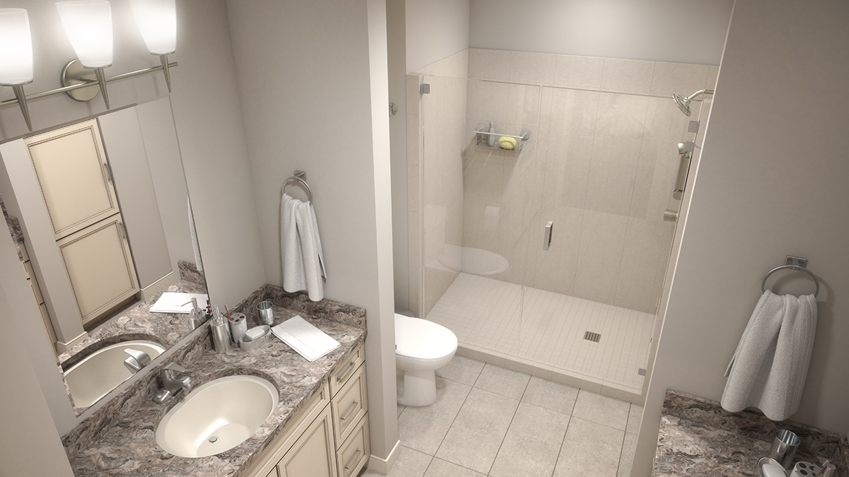 Top down 3D architectural rendering of a bathroom, with props to give it a lived-in appearance. Rendering by Trinity Animation.