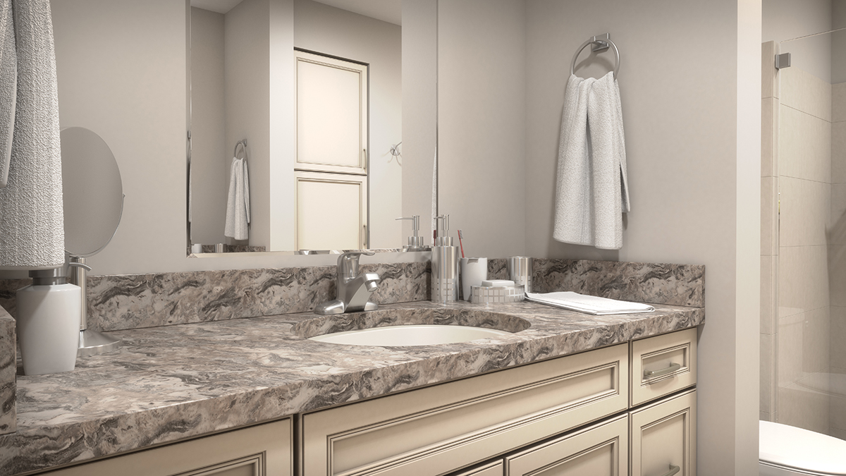 A low angle 3D architectural rendering of the bathroom to feature the cabinetry design. Rendering by Trinity Animation.
