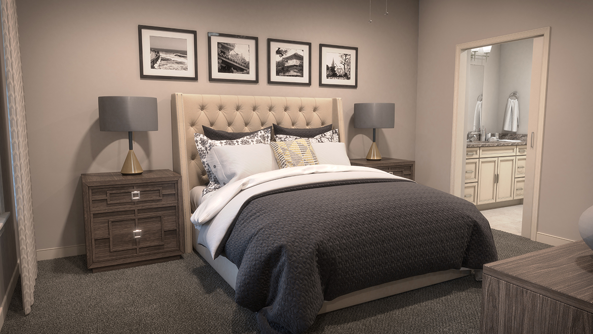 A bedroom 3D architectural rendering, with bed, art and other interior props. Rendering by Trinity Animation.