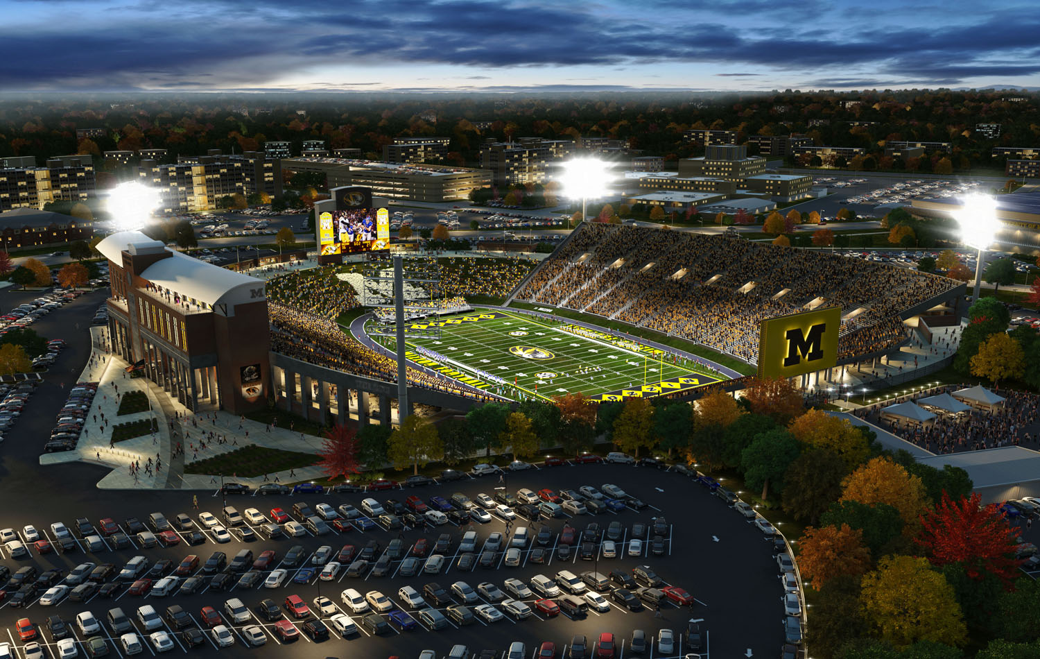 3D Stadium renderings often include the parking lot in the foreground.
