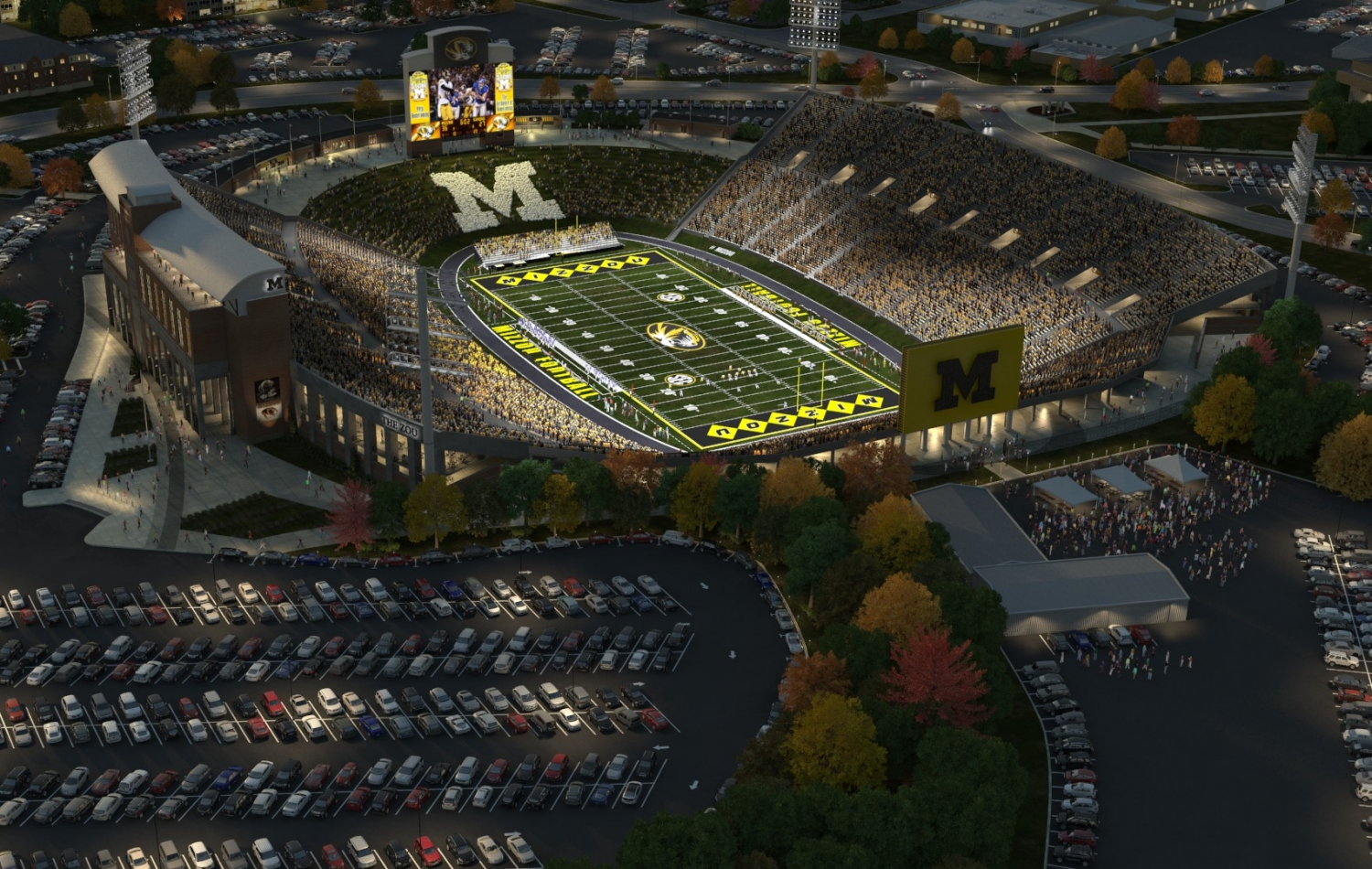 One of a set of 3D stadium renderings that show the crowds of attendees entering the stadium.