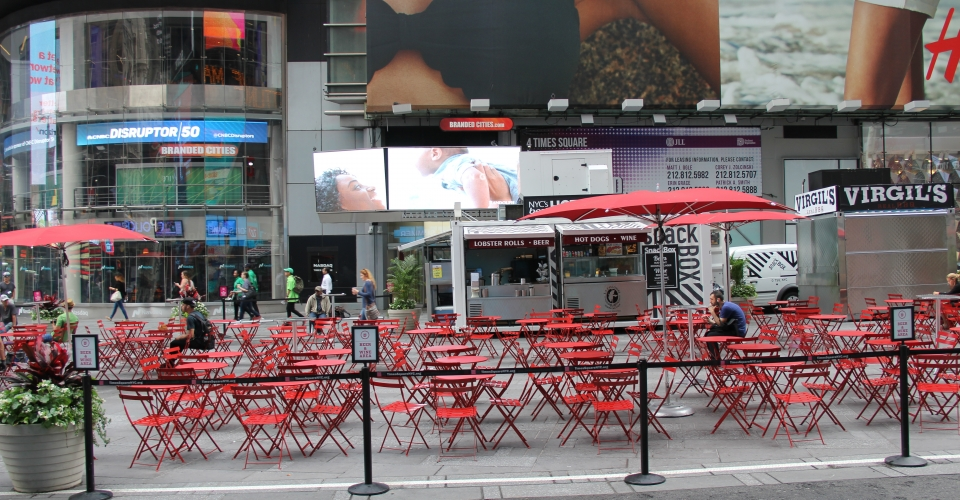 Photograph of Time Square Building used as reference for 3D models on Trinity's city animation.