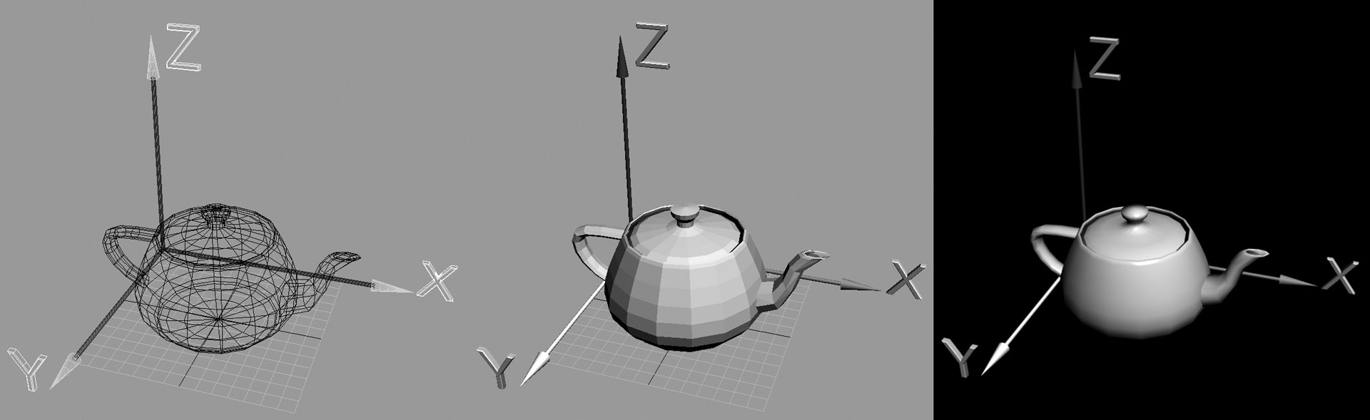 A teapot in three frames; wireframe, preview, and final render.