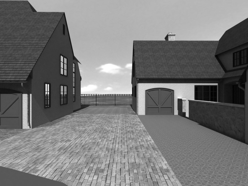 Sample forensic animation view of path between two houses overlooking horizon.