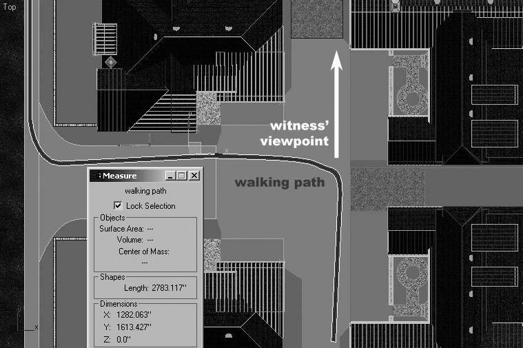 Sample forensic animation aerial rendered view outlining a path that a pedestrian took, as well as their viewpoint.