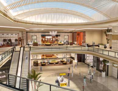 Rendering of mall end cap with escalators and animated people.