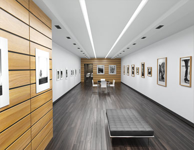 Single point perspective rendering of a modernist art gallery with ebony floors and LED lighting.