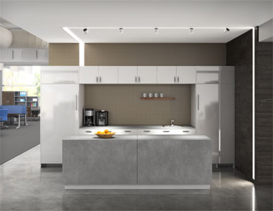 Rendered view of a modern office kitchen with elegant LED lighting.