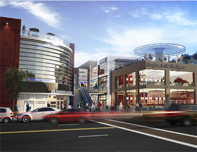 Action rendering of the street entrance to a proposed luxury shopping center, populated with shoppers and moving traffic.