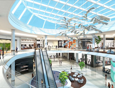 A sunlit interior rendering of an architectural design for a high fashion mall, including escalators and shoppers near a fountain and seating area.