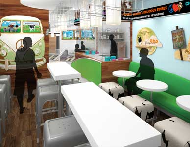 Visualization for Ben And Jerry's Ice Cream in a Japanese location with serving line visible at rear and seating area in the foreground.
