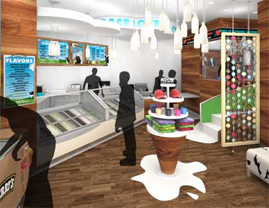 Rendering of the interior serving area for a Japanese Ben and Jerry's Ice Cream shop, using silhouette people to indicate scale.