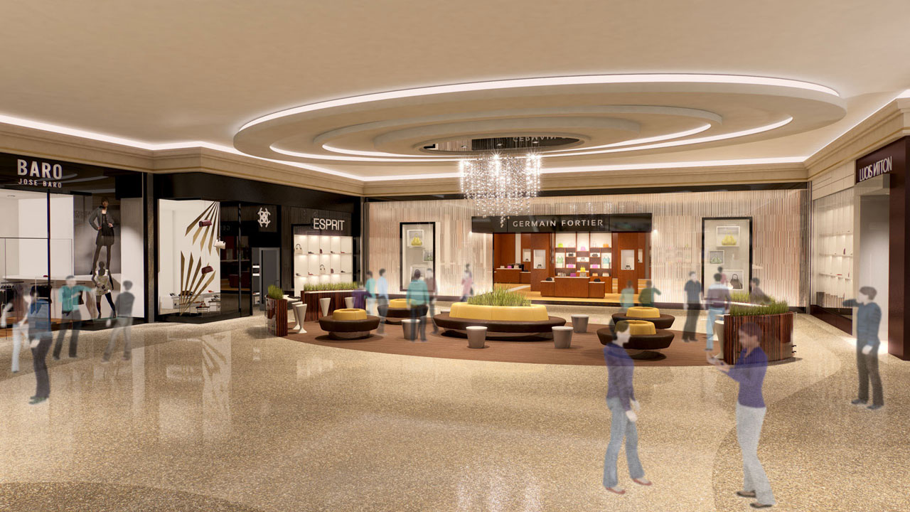 Beautiful rendering of high end retail mall interior with seating area.