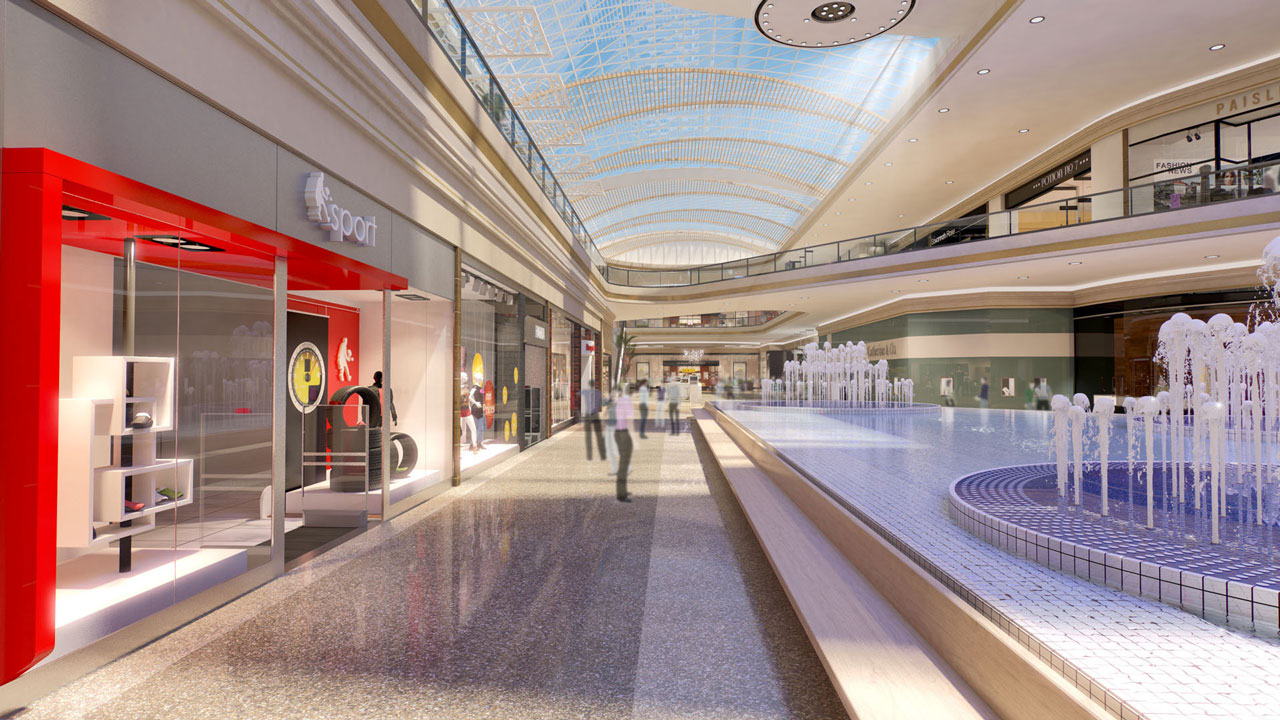 Rendering of mall interior with active fountains and arched glass roof.