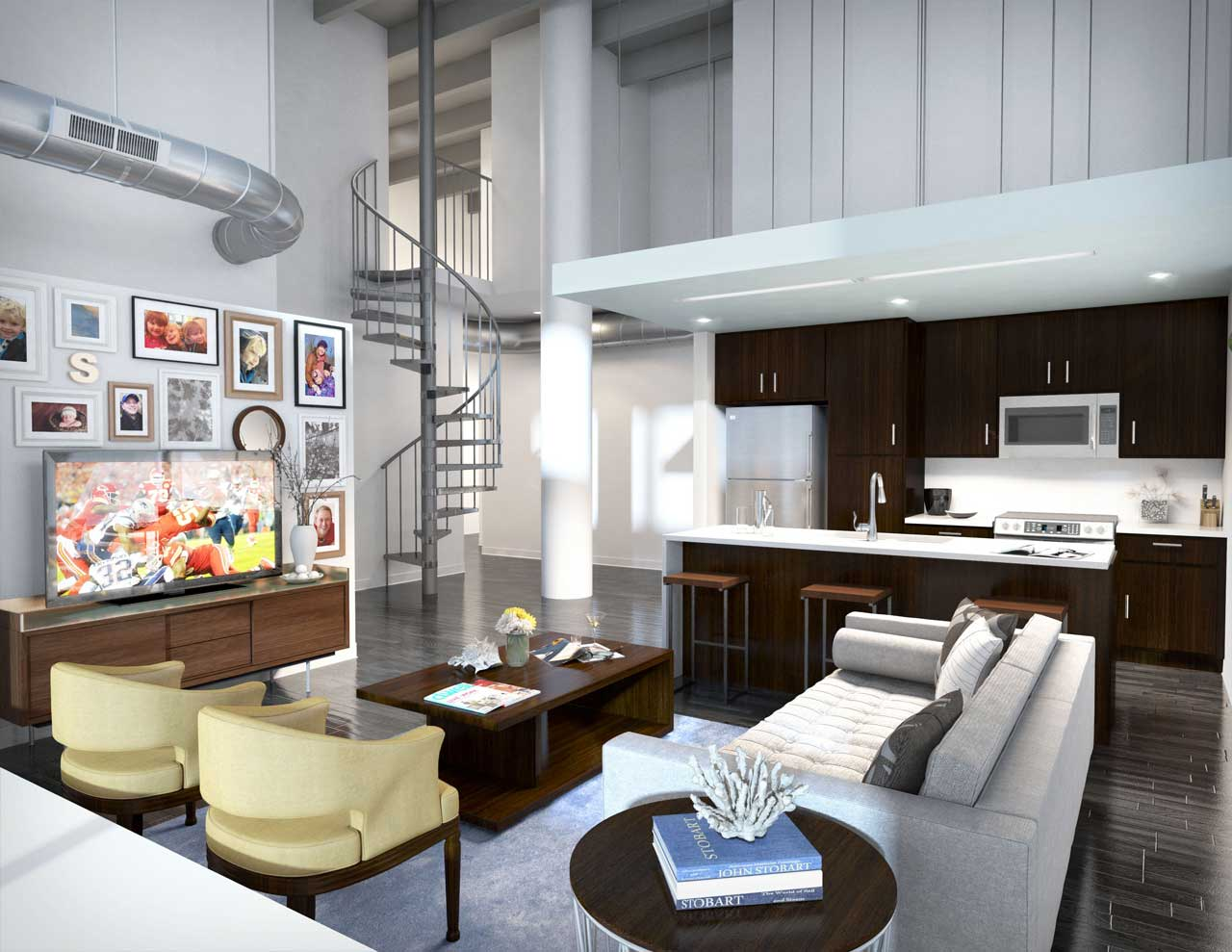 Rendering of a condo interior with furnished living room.