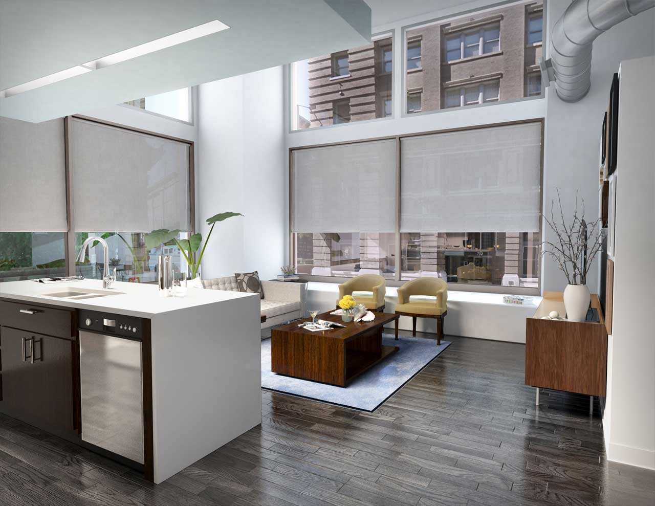 A rendered view from kitchen to living room of a proposed condominium interior.