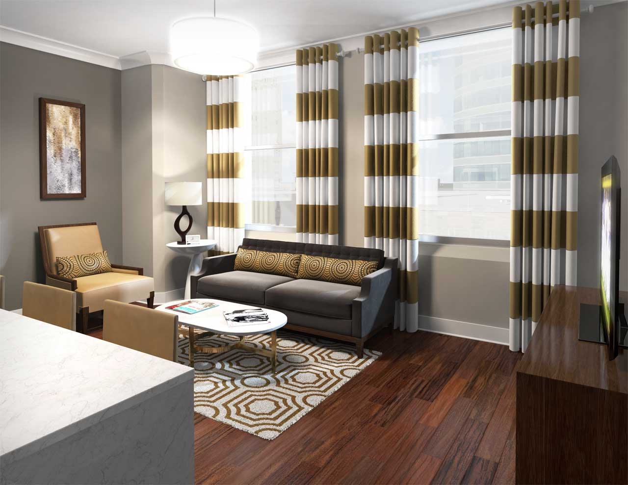 Rendering of a luxury condo with designer furnishings including drapes, coordinated chair and sofa with coffee table and floor rug.