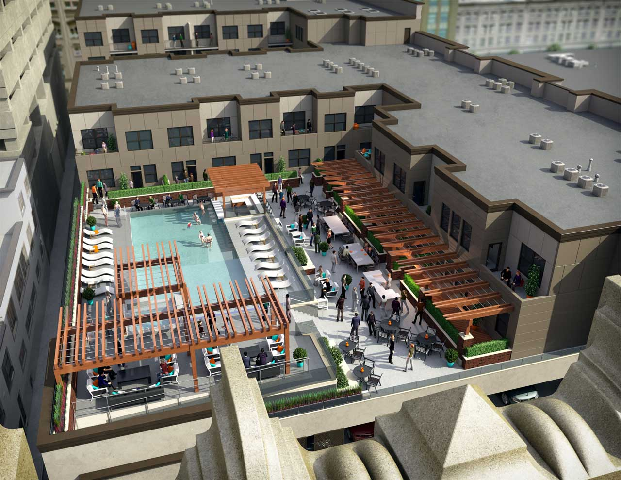 Aerial view of the swimming pool and entertainment area for a proposed luxury apartment rooftop.