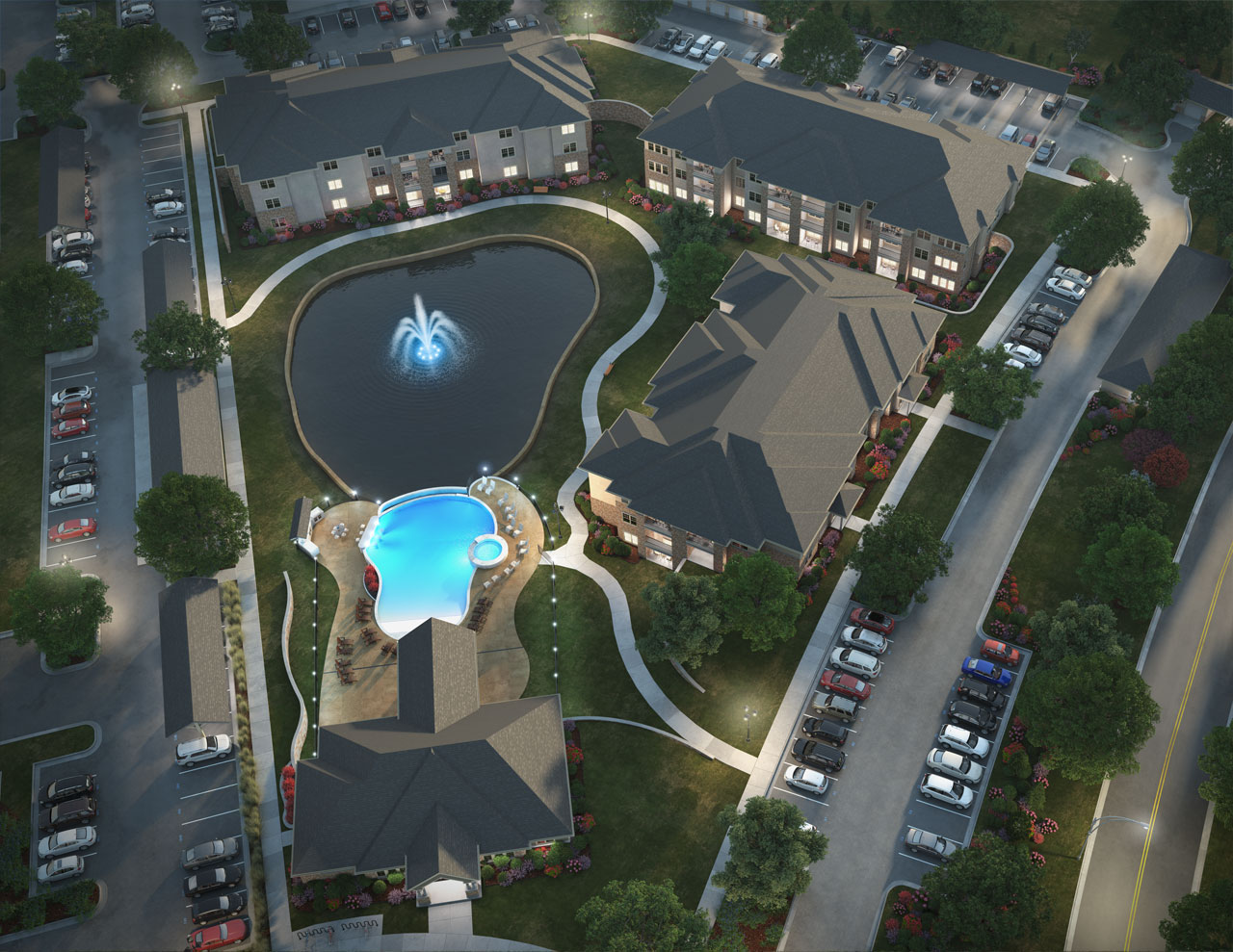 Aerial rendering of an apartment complex including swimming pool and water feature.