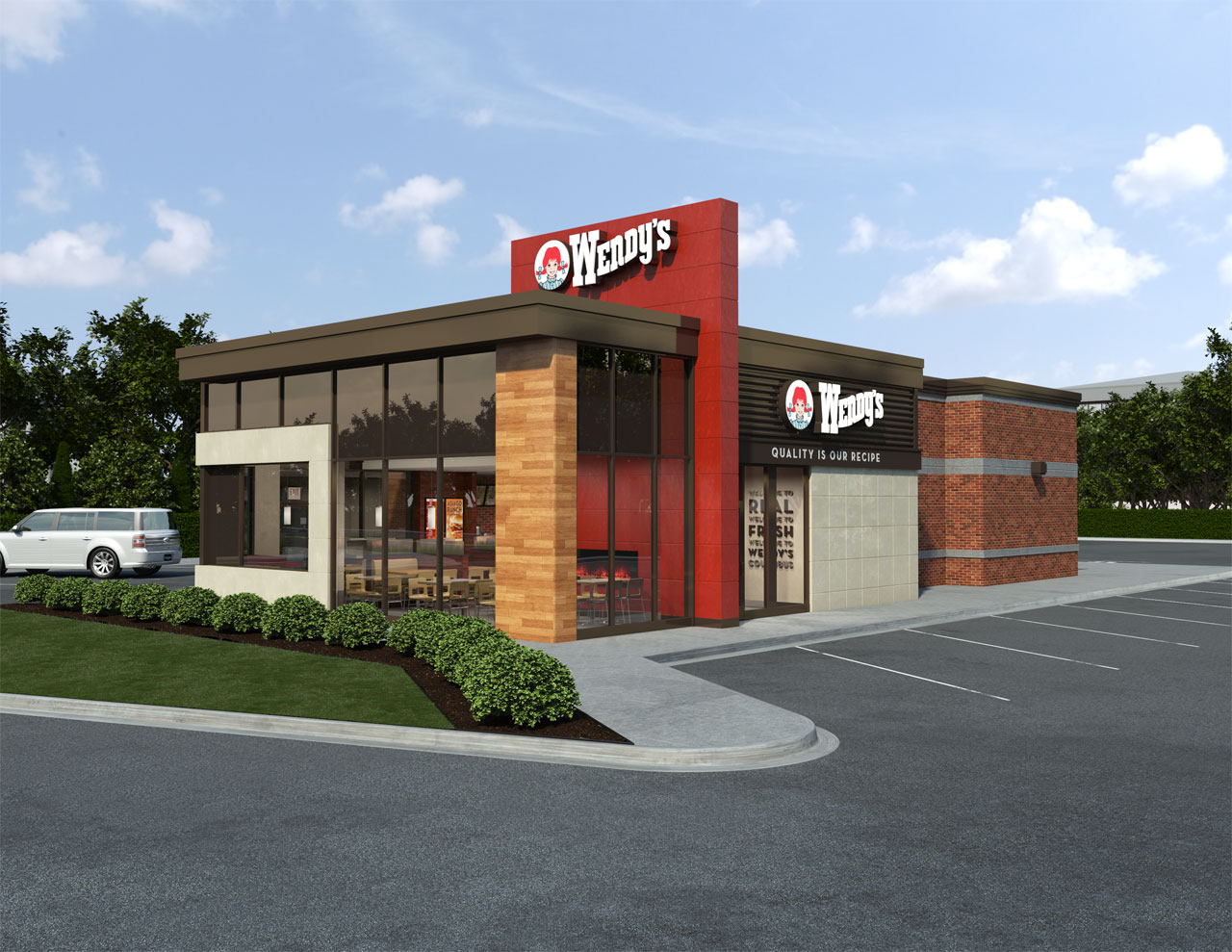 Exterior view of a proposed Wendy's restaurant design including a greenhouse styled dining area with a framed window feature and a central red monolith.