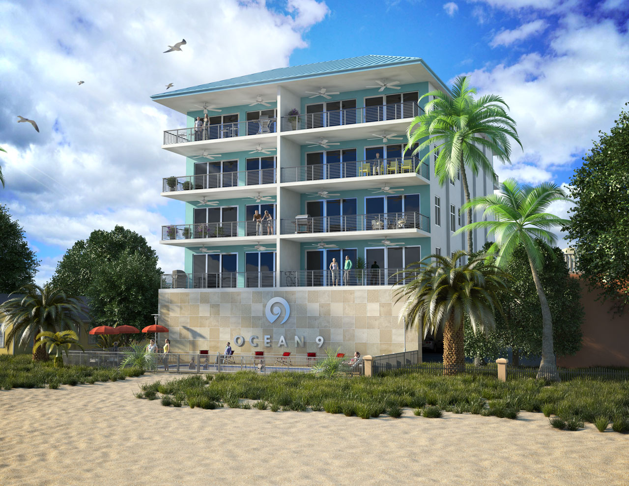 Exterior rendering of a beachfront condominium with balconies overlooking the pool area and sandy beach.