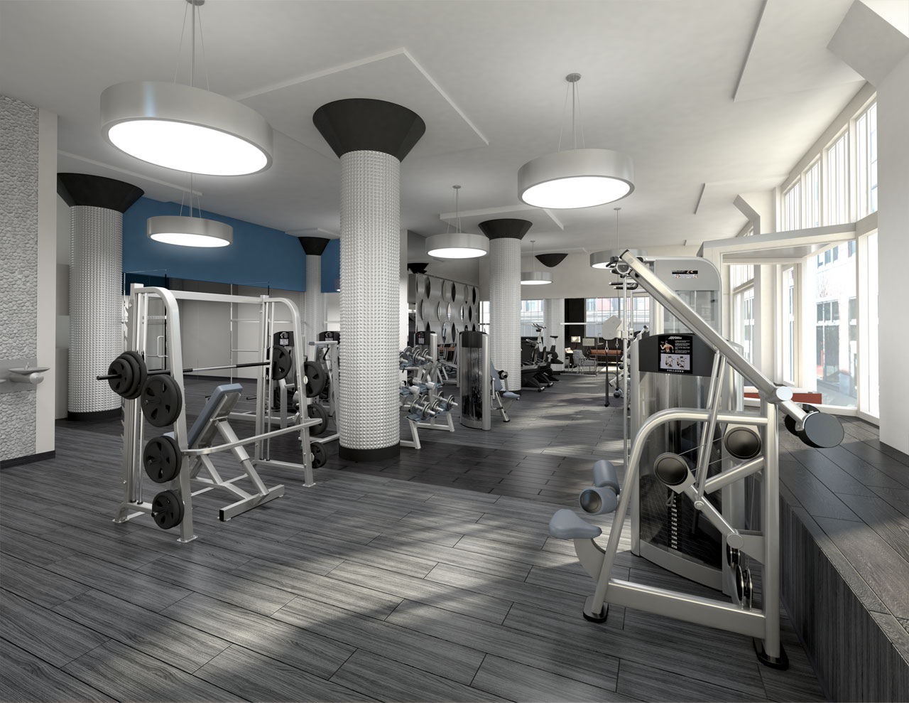 Fitness Center visualization for a multi-story condominium building with sunlight streaming in from windows on the right.
