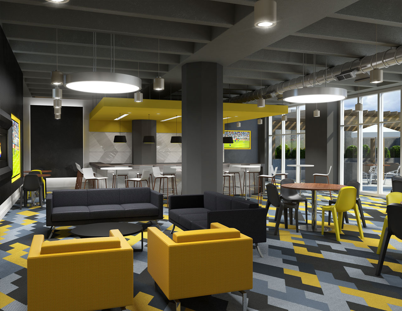 A 3D rendering of a brightly colored bar and meeting area for a large condo, including seating areas and a full bar at rear.